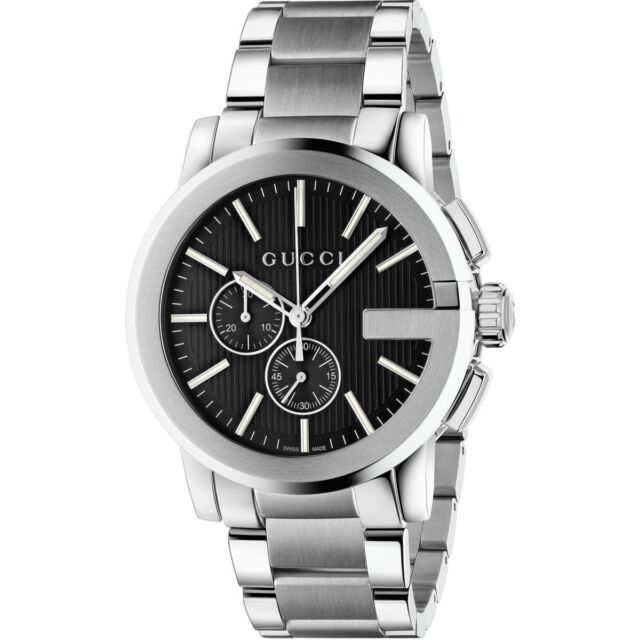 Gucci G,Chrono Chronograph Black Dial Stainless Steel YA101204 Mens Watch