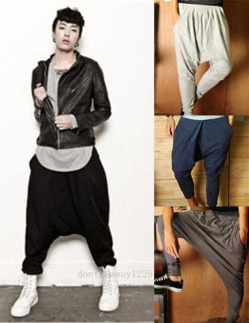 Mens Harem Pants Hip Hop Trousers Drop Crotch Dance Jogger Sport Baggy Slacks