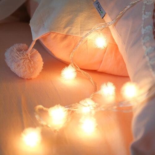 1-6M//10-40LEDs Furry Ball String Fairy Light Holiday Wedding Party Xmas Decor US