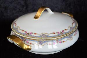 Antique Porcelain Union T Floral Swag Round Covered Casserole Czechoslovakia