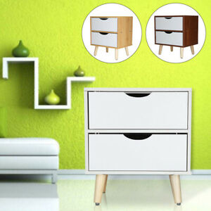 Bedside Table with 2 Drawers Nightstand Storage Modern Cabinet Bedroom White UK
