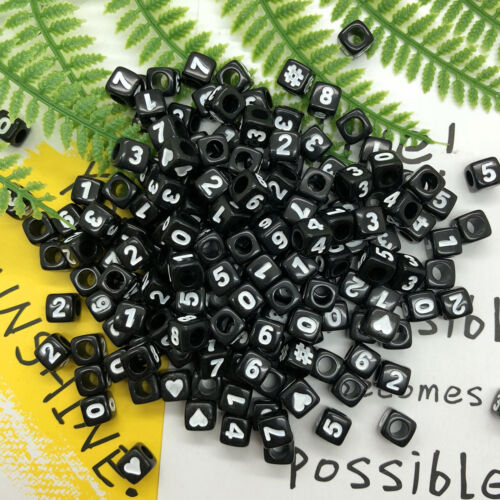 NEW 7mm Letter Bead//Number Bead Acrylic Cube Hole Bead Mixed 100pcs