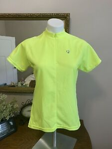 Bontrager-women-039-s-cycling-jersey-Neon-short-sleeve-1-2-zip-2-pockets-size-M