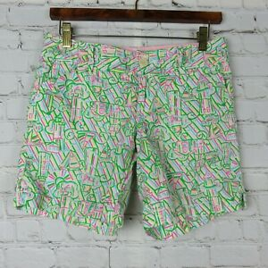 Lilly-Pulitzer-Womens-Sz-0-Casual-Bermuda-Walking-Shorts-Multicolor-Patterned