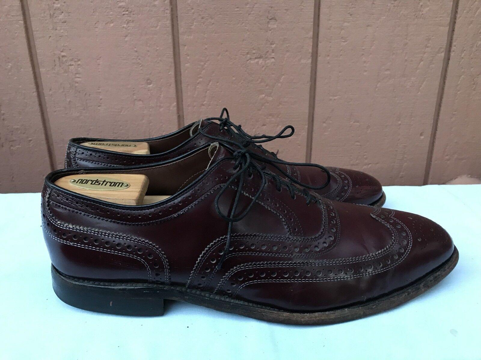 Allen Edmonds Burgundy US 10.5D Pelle WingTip  Brogue Oxford Dress Shoes A6