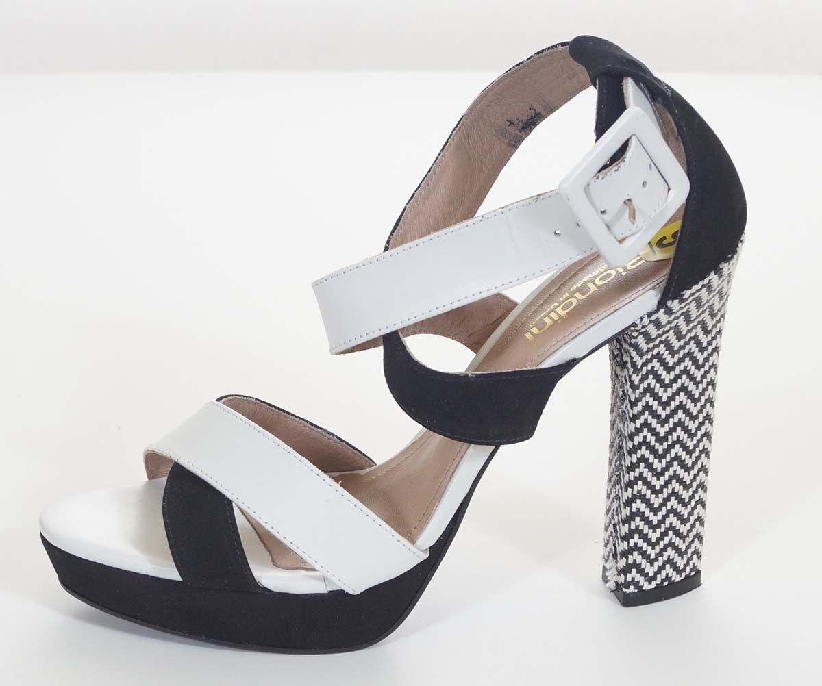 memorizzare Biondini donna donna donna nero bianca Leather Ankle Strap Platforms Heels scarpe 9 40  risparmia il 35% - 70% di sconto