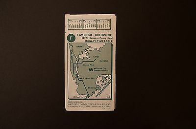 Subway Map Nyc 6 Train.Nos 1977 New York City Subway F 6 Ave Exp Train Timetable Line Map