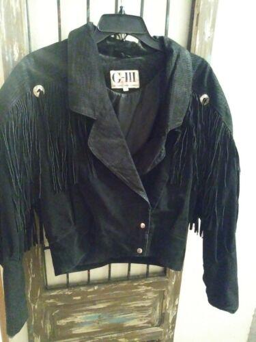 Black Suede Fringe G-III Crop Jacket 80's Coat~Pre
