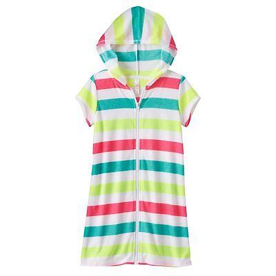 NWT Toddler Girls White Hooded Zippered Beach Coverup Sun Dress Op Summer Swim
