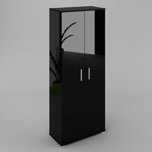 Elana-Armoire-etageres-2portes-noir-brillant-et-noir-mat-haute-qualite