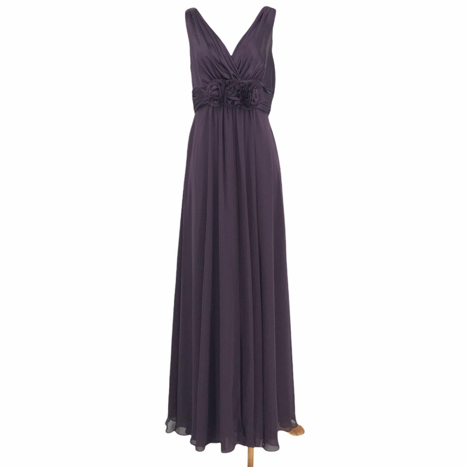 Bill Levkoff Bridesmaid Dress Womens 8 Purple Sleeveless Ruched Formal Gown Zip