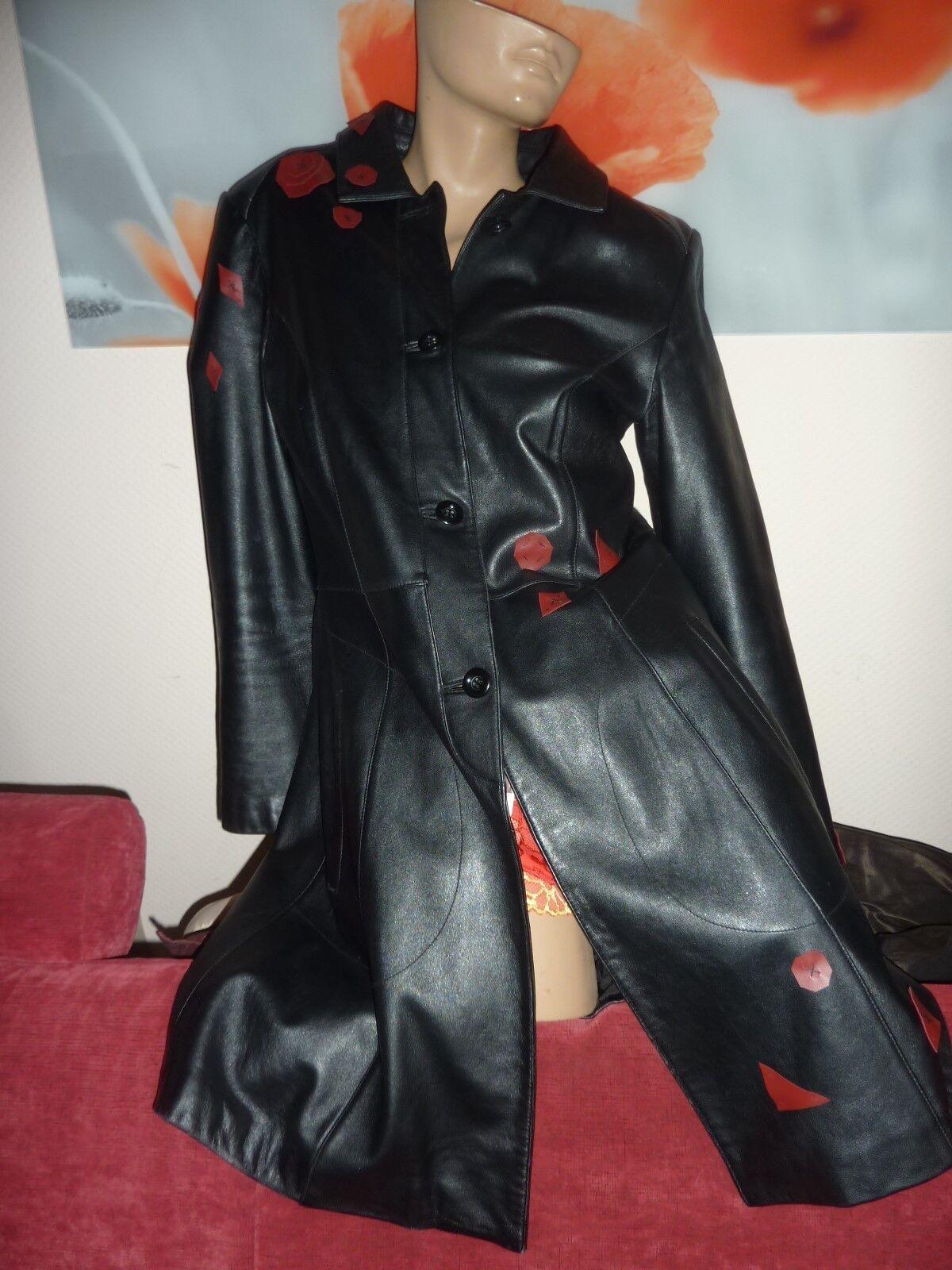Damen Ledermantel Gr. 40 M schwarz Lederjacke Kurzmantel Jacke Applikationen