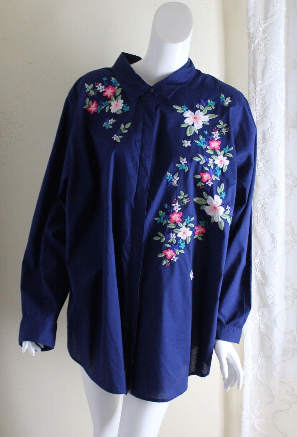 Liz Claiborne -Sz 2X Navy Floral Art-to-Wear Embroiderot Folk Blouse Shirt Top
