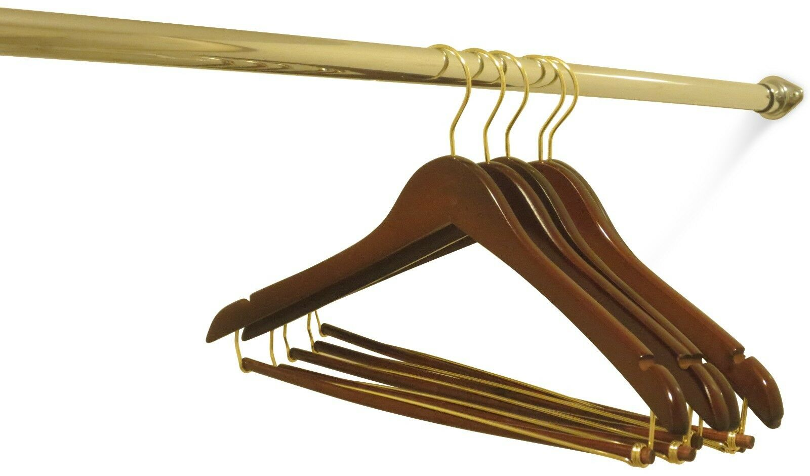 Wholesale Wooden Curved Contour Suit Hangers Wall Nut Finish with gold Hook -50