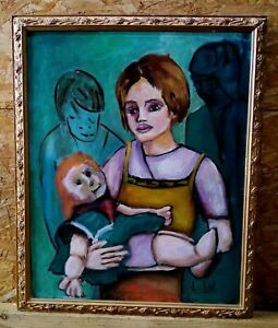 Peinture-Acrylique-sur-Toile-Encadre-et-Signe-Peintre-Contemporain-TBE