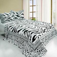 3 PC Animal Pattern zebra stripe spots black white 100% Cotton Queen Quilt Shams