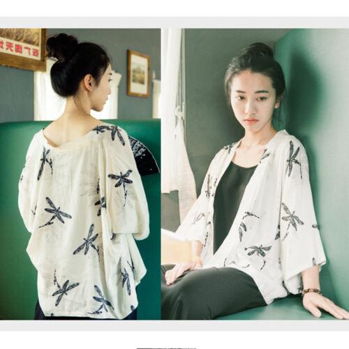 Lady Chiffon Dragonfly Print Cardigan Japanese Kimono T-shirt Blouse White Shirt