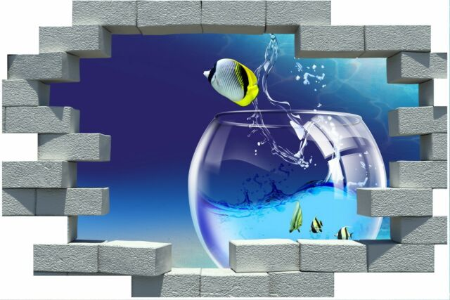 3D Broken Brick Fish out of Water Sea Sticker Wall Poster Vinyl GA16-300