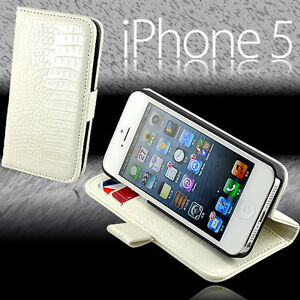 Details about Premium WHITE Snake Stand Wallet Leather Case Cover For New  iPhone 5 5S + Film