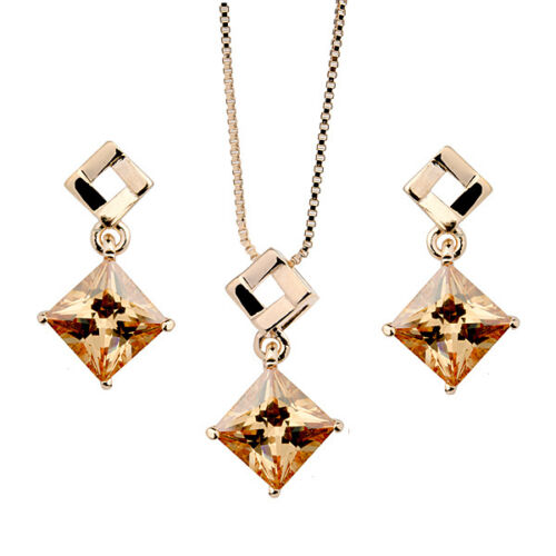 18K ROSE GOLD PLATED GENUINE CUBIC ZIRCONIA TOPAZ NECKLACE /& EARRING SET