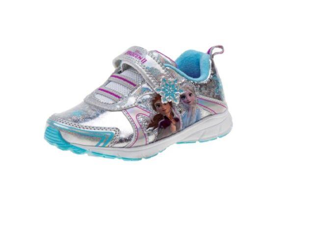 9,10,11,12 Sz Disney Frozen Anna /& Elsa Girls/' Light-Up Sneakers Shoe 6,7,8