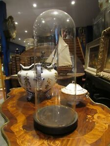 ancien grand globe pour vase d eglise en verre  epoque XIXe socle