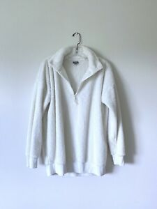 Medium-AERIE-Soft-Fuzzy-Off-White-Half-Zip-Fleece-Sweatshirt-Top
