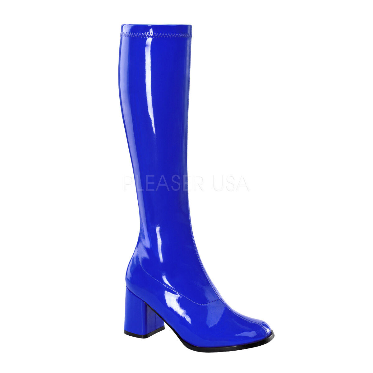 PLEASER FUNTASMA GOGO-300 NAVY BLUE PATENT STRETCH 70'S KNEE HIGH BOOTS