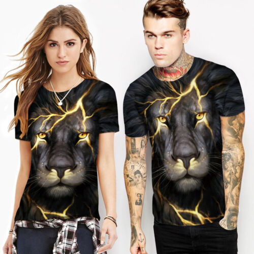Wolf Tiger Lion Animal 3D Print Women Men Short Sleeve Graphic T-shirt Tops US