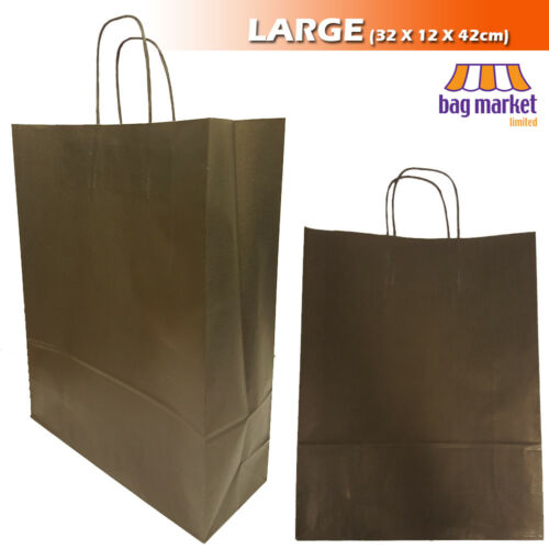Strong Black Twisted Handle Paper BagsKraft//Shop//Gift//Fashion//Party//Carrier