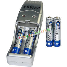 4x AAA battery batteries Bulk Rechargeable NI-MH 1000mAh 1.2V BTY + USB Charger