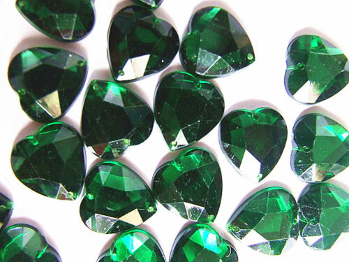 40 Green Acrylic 16 mm Heart Rhinestone Gem Flatback Sew on Dancewear Handbag