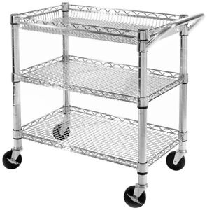 Image Is Loading 3 Tier Rolling Utility Cart Chrome Steel Wire