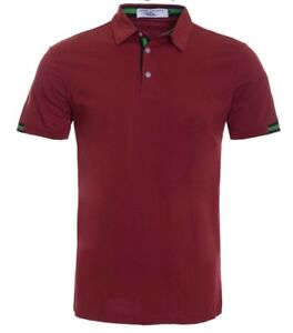 New-Mens-Short-Sleeve-Polo-Shirt-Slim-Fit-Burgundy-Button-Up-Green-Accent-Cotton