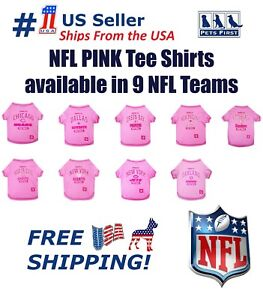 NFL-Pink-Tee-Shirts-for-DOGS-amp-CATS-9-NFL-Teams-amp-4-Sizes-Available-NEW-Tee-039-s