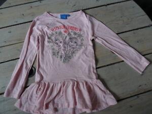 T-shirt-Tunique-rose-chine-imprime-flocons-La-Reine-des-Neiges-DISNEY-T-5-ans