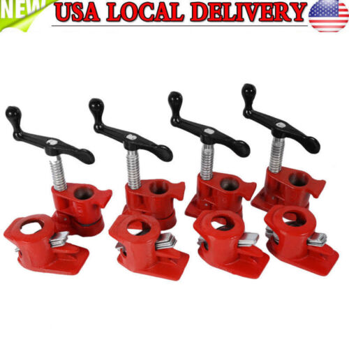 """4 Pack 1//2/"""" Wood Gluing Pipe Clamp Set Heavy Duty PRO Woodworking Cast Iron Set"""