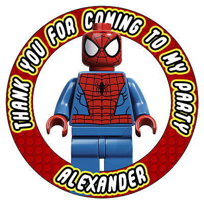 Personalised Spiderman Birthday Party Stickers Sweet Cones Bags Seals Labels