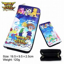 Digimon Anime Cosplay Long Wallet Faux Leather Purse Clip Hand Bag with Zipper