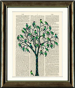 Antique-Book-page-Art-Print-Green-Bird-Tree-Dictionary-Page-Wall-Art