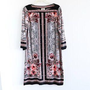 Beige By Eci Stretch Printed Dress Long Sleeve Size 12