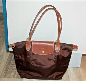 Détails sur adorable sac à main pliage marron 35 X 14 LONGCHAMP comme neuf