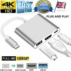 Type C USB 3.1 to USB-C 4K HDMI  3 in 1 USB 3.0 Adapter Hub For Macbook Pro UK