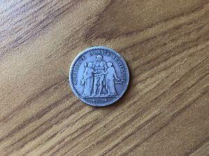 MONETA-REPUBBLICA-FRANCESE-5-FRANCHI-1873-IN-ARGENTO-900-PESO-25-gr-SUBALPINA