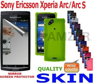 AMZER-Silicone-Skin-Jelly-Case-Screen-Protector-For-Sony-Ericsson-Xperia-Arc-S
