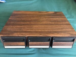 Audio-Cassette-Tape-3-Drawer-Storage-Organizer-Holder-Faux-Wood-Holds-42-Tapes-G