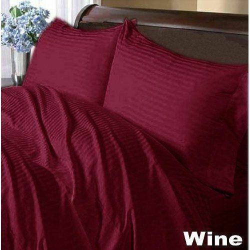 Elastic All Around Fits Fitted Sheet Wine Stripe Choose Deep Pkt & Größe 1000 TC