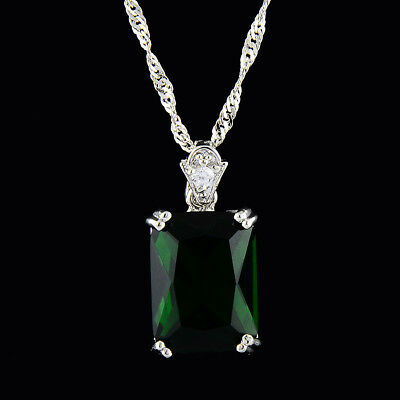 Pendant Emerald Cut Green Emerald 18K Yellow Gold Plated Free Necklace Chain