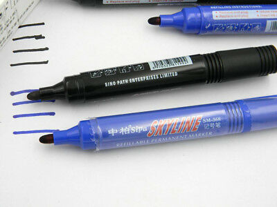 1pc Black and 1pc blue CD Waterproof Fast Dry Writing Permanent Marker Pen