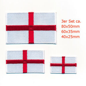 3 England London Birmingham GB Europa Flaggen Flag Patch Aufnäher Aufbügler 1064